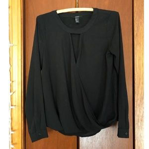 F21 Black Wrap-Front Longsleeve Top